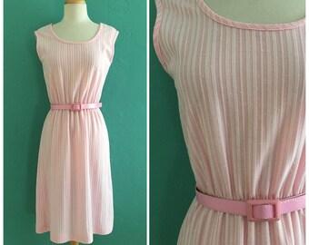 60's pink striped shift dress // pink summer dress ~ small medium