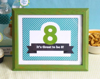 Great to be 8 Welcome Sign Printable: LDS Boy Baptism Party Welcome Sign -- Instant Download Decoration