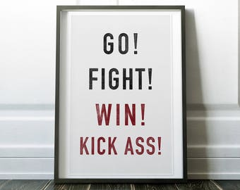 Go! Fight! Win! Kick Ass! - Woodblock Style Print on Canvas - Natural