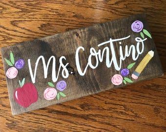 Teacher Name Sign, Custom Name Sign, Teacher Gift, Last Name Sign, painted Wood Sign, Classroom Sign, Teacher Pencil Sign, Wood Teacher Sign