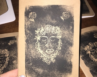Handmade and hand printed blank journal, daily notes, art book, etc.