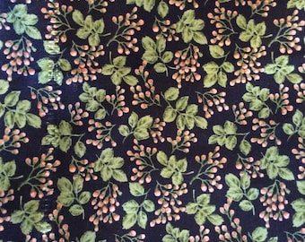 MBT black background with green leafs and rose colored buds cotton fabric