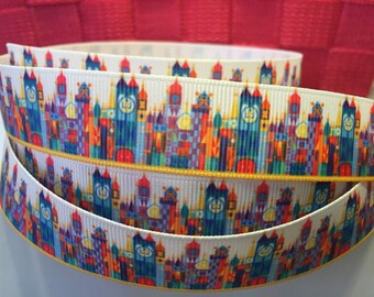 "1 yard 7/8"" Disneyland Its a Small World Grosgrain Ribbon - Disney Bow Making Ribbon - IASW Children of the world Mary Blair"
