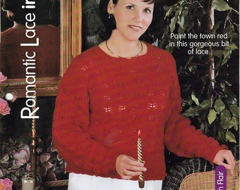 Romantic Lace in Red / Knit Pattern / House of White Birches 127117