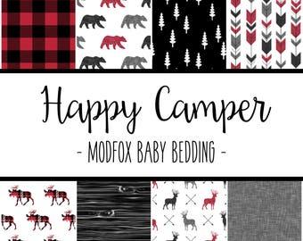 Happy Camper Baby Bedding - Woodland Animal Bedding - Woodland Crib Sheet - Red Crib Sheet - Bear Crib Sheet - Crib Bedding - Crib Blanket