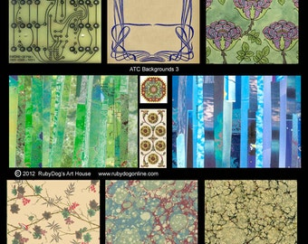 Collage Sheet - Patterns  - Blues and Greens, Marbling, Art Deco, Circuit Board, etc.