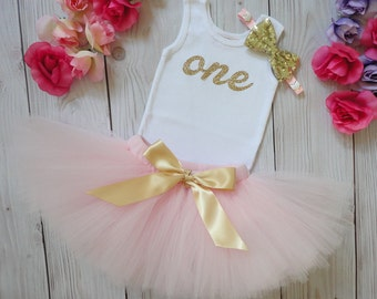 Gold Pink Birthday Outfit Birthday Outfits 1st Birthday Outfit First Birthday Outfit Cake Smash Outfits Tutu Dress Birthday Tutu