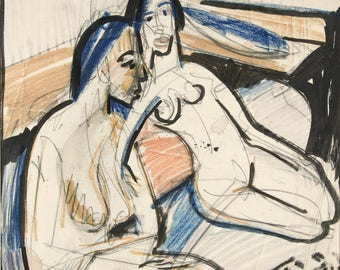20th Century Expressionism: Two Seated Women in the Studio, 1912 by Ernst Ludwig Kirchner. Fine Art Reproduction.