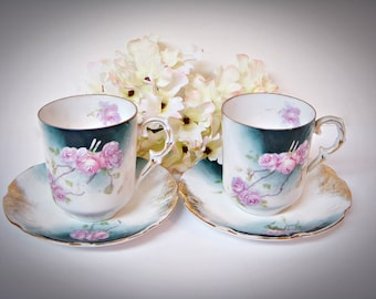 HAND PAINTED DEMITASSE Teacups and Saucers  Japan Pink Teal