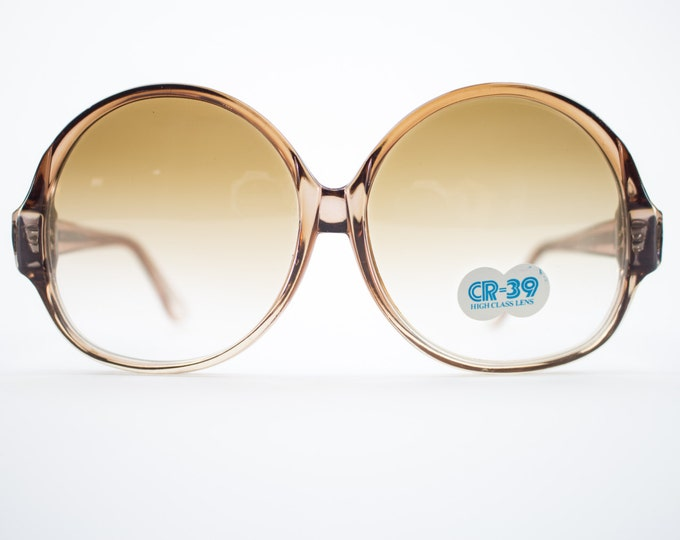 Vintage 70s Sunglasses | Retro 1970s Round Oversize Clear Brown Sunglasses | Vintage Deadstock - 1070 Brown