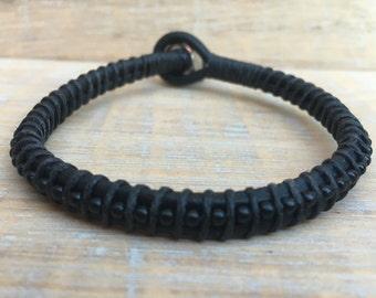 Mens Black Bracelet, Mens Leather Bracelet, Rocker Style, Guys Jewelry, Custom Bracelet, Boyfriend Gift, Husband Gift, Son Gift, Dad Gift