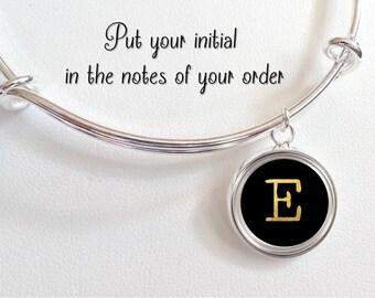 Gift for Writer - Typewriter Key Charm Bracelet - Gift for Journalist  -English Teacher Gift -Letter Personalized Initial silver black