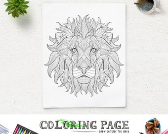 Printable Coloring Page Lion Coloring Animal Coloring Pages Instant Download Adult Coloring Book Adult Coloring Book Zen Coloring Pattern