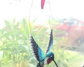 3D Beaded Hummingbird Suncatcher (window art)
