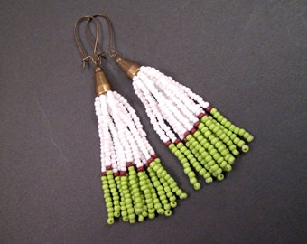 Tassel Earrings, White Green and Brown, Ombre Glass Seed Beaded Fringe Earrings, Brass Dangle Earrings, FREE Shipping U.S.