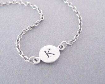 Initial K Bracelet, Silver Initial Bracelet, Silver Initial Charm, Personalized Bracelet, Letter K, K
