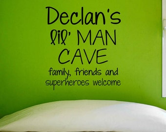 Custom Lil Man Cave Vinyl Wall Decal | Home Decor Bedroom Children's Room Decals 22x24.5 | 40+ Colors Available! Quick Ship!