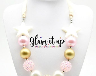 Girls Chunky Necklace- Baby Chunky Necklace- Girls jewelry-baby jewelry-Pink and gold chunky Necklace-cake smash-twinkle little star