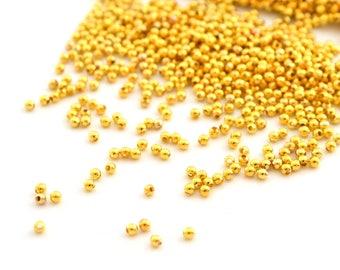 200 mini gold tone 2mm round beads