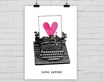 fine-art print poster love letter typewriter heart vintage