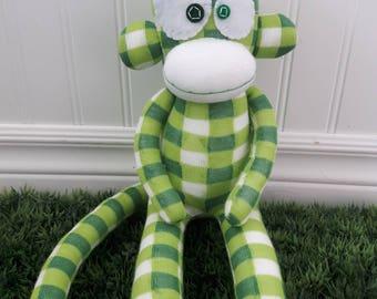 CLEARANCE Green Checkered Sock Monkey Doll