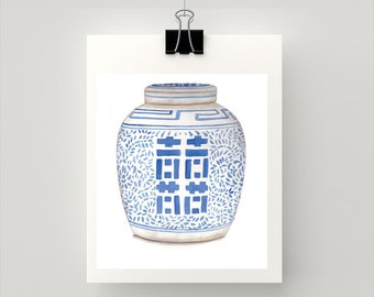 LARGE REPRODUCTION PRINT Double Happiness Ginger Jar - Blue and white - print of my original watercolour painting