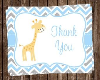Giraffe, Thank You Cards, Baby shower, Birthday, Chevron Stripes, Blue, Boys, Gray, Gentle, Grey, Sprinkle, 20 Cards, FREE Shipping, CHGBL