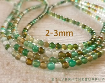 2-3mm Green Agate Beads - 3mm Gemstone Beads - Wrap Bracelet Beads - Green Beads - Green Agate Beads - 3mm Green Agate - Gemstone Beads