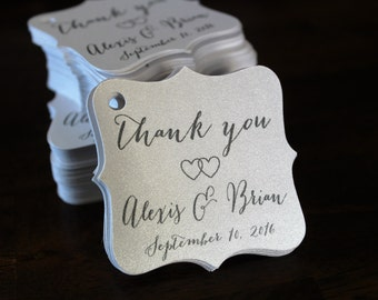 Wedding Thank You Tags -Personalized Wedding Favor Tags-Elegant Favor Tags-Set of 50