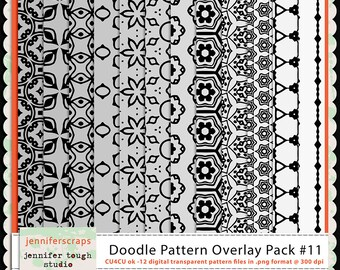 Instant Download - Set of 12 digital paper overlays/templates - Doodle patterns overlay set 11 - CU4CU ok