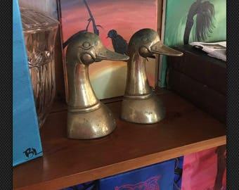 Vintage Leonard Solid Brass Duck Bookends!