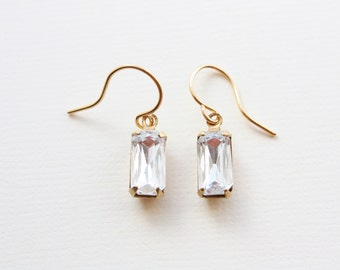 Rhinestone Baguette Earrings, Crystal Clear Rhinestones, Vintage Rhinestones, Gold Plated Brass Settings, Ready to Ship