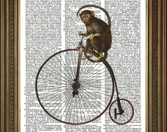"PENNY FARTHING MONKEY Print of Animal Riding Bike - Antique Dictionary Art Page, Vintage Illustration Wall Hanging (8 x 10"")"