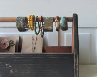 Wooden Tote Display - Bracelet Bar & Jewelry Card Holder - Rustic Wood w/ Distressed Black Finish - Bracelet Organizer - Ready to Ship