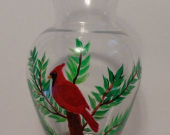 Cardinal Vase Hand Painted Red Cardinal Glass Vase Birds Hand Painted Glass Vase Cardinals Red Cardinals Vase