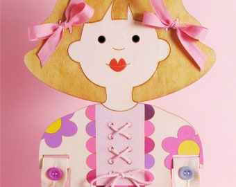 LACING DOLL, For Girls, Buttons Practice, Wooden Doll, Small Motors Practice, Zippers, Coordination