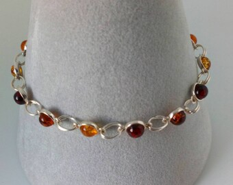 Multi Coloured Baltic Amber and Sterling Silver Slider Bracelet
