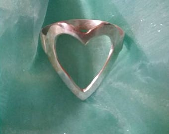 Vintage Silver Heart Bangle, Valentine Love, Heart Bangle, Love Bracelet, Valentine Gift for Her, Love Bangle, Silver Heart Bracelet, Love