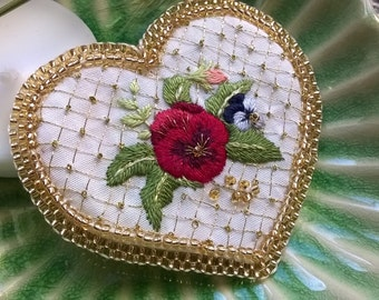Hand Embroidered brooch - needle painting and beadwork - Pansy