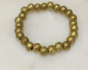 African Brass Bead Stretch Bracelet
