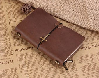 Personalized Leather Journal Notebook With Cross - Hand Crafted Vintage Refillable Leather Traveler's Notebook - Medium Size