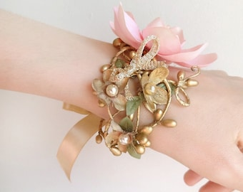 pink and gold cuff bracelets for women, cuff bracelet gold, bridal corsage, bridesmaid corsage wrist, floral jewelry, luxe floral accessory