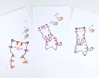 Cat postcard set, wall art, postcard, cat art, cat print, art print, cat lover gift, cat illustration, cute card