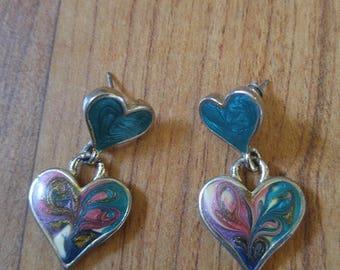 80s double heart enamel drop earrings for pierced ears
