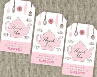 Kitchen Tea 'Teapot' - Bridal Shower Tea Thank You Party Bag Swing Tags. Printable