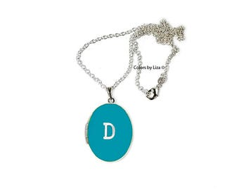 Initial Oval Locket in Hand Painted Turquoise Enamel Personalized Necklace on Sterling Silver Chain with other Color Options