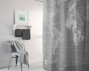 Gray World  Map Shower Curtain - Gray and white, wanderlust - industrial chic, Minimalist Grey