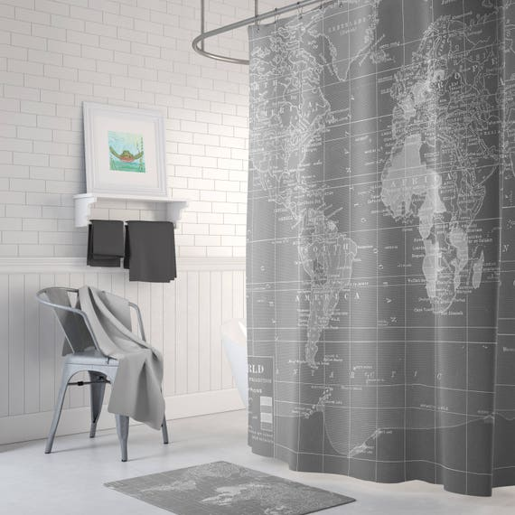 Gray world map shower curtain gray and white wanderlust gumiabroncs Gallery
