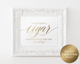 Faux Gold Cigar Bar Sign, Cigar Bar Printable, Wedding Sign, Cigar Wedding Sign, Wedding Cigar Bar, PDF Instant Download #BPB324_79