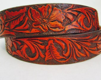 Hand-Tooled Leather Belt With Sheridan Floral Pattern/Hand-Carved